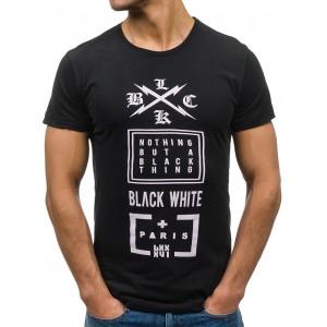 Černé pánské tričko s krátkým rukávem