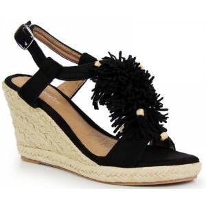 Dámské sandály na platformě v černé barvě