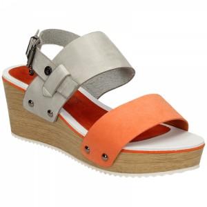 Šedě oranžové dámské sandály na platformě s přezkou