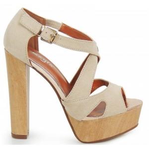 Vysoké dámské sandály na podpatku v béžové barvě