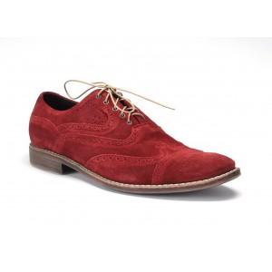 Pánské kožené boty vínové barvy na šněrování COMODO E SANO