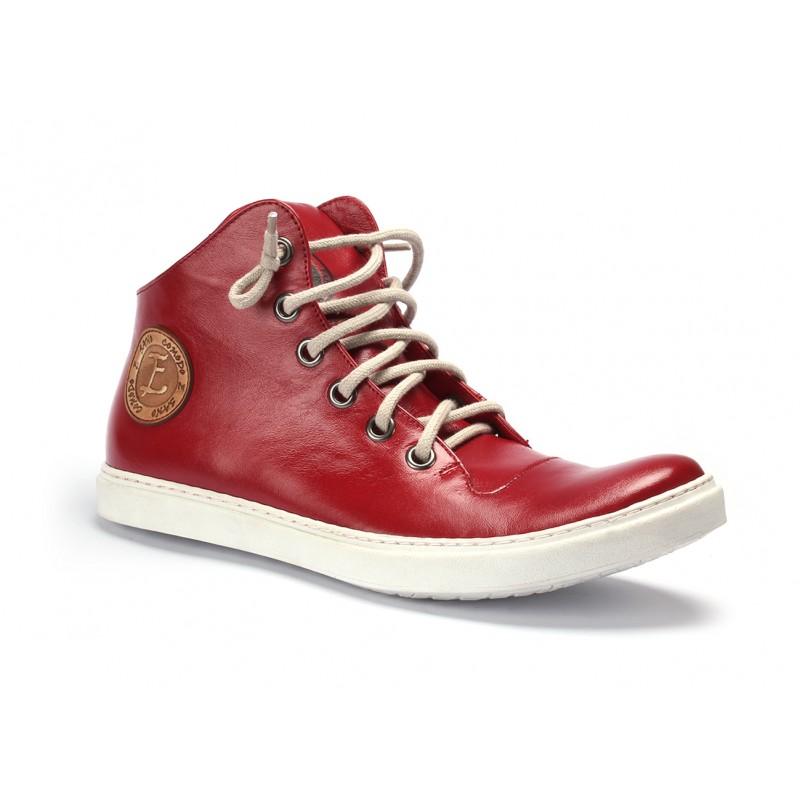 bd7aea6fa9 ... boty Pánské kožené boty s tkaničkami červené barvy COMODO E SANO.  Předchozí