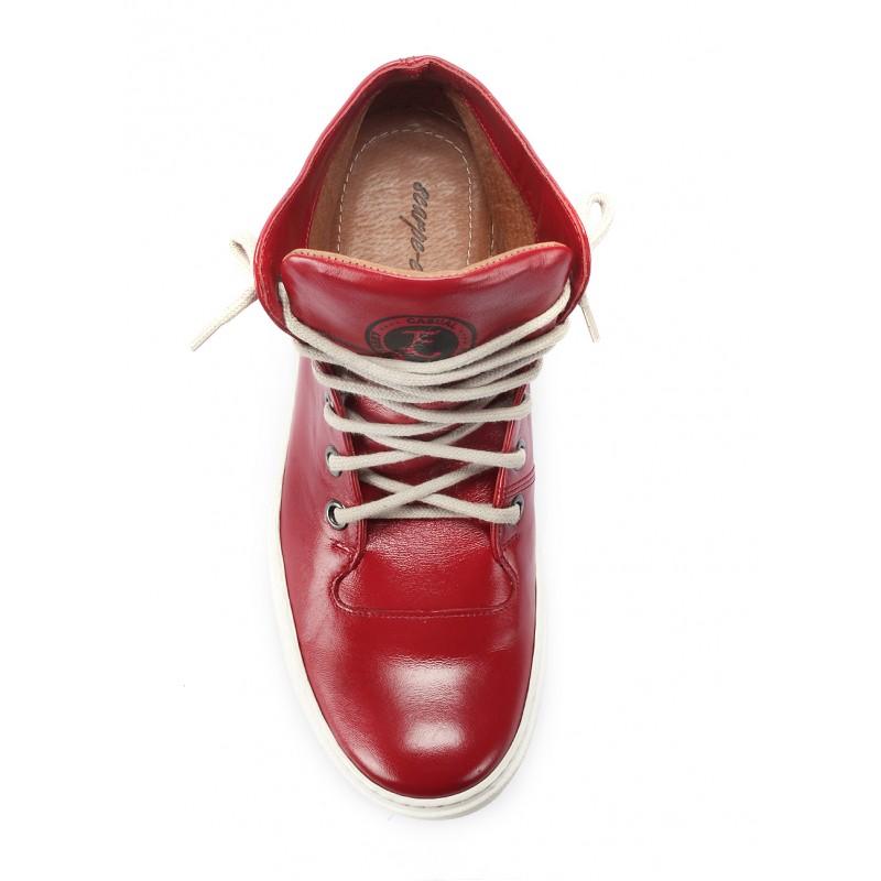 b0368d59d9 Pánské kožené boty s tkaničkami červené barvy COMODO E SANO - manozo.cz