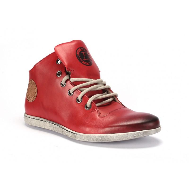 Pánské kožené červené boty na šněrování COMODO E SANO - manozo.cz fee2f90044f