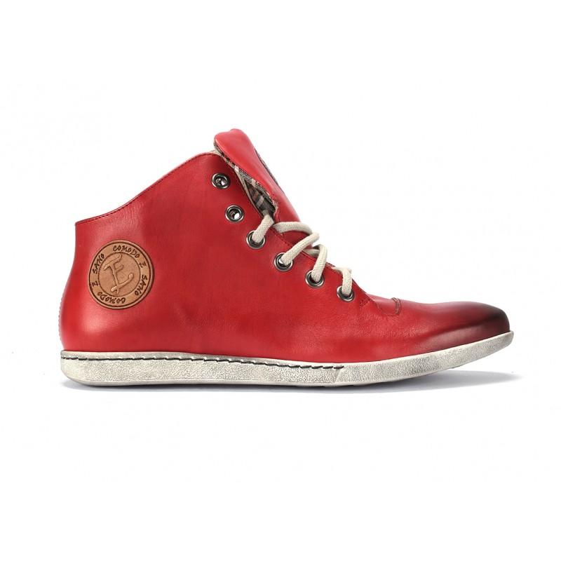 30237e476f Pánské kožené červené boty na šněrování COMODO E SANO · Pánské kožené  červené boty ...