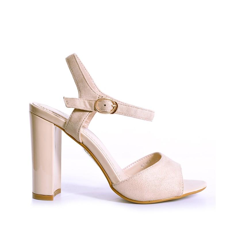 Béžové dámské sandály na vysokém podpatku - manozo.cz a67dc8d2c1