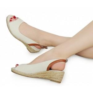 Béžové dámské sandály na platformě s otevřenou špičkou a patou
