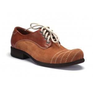 COMODO E SANO pánské kožené boty hnědé barvy