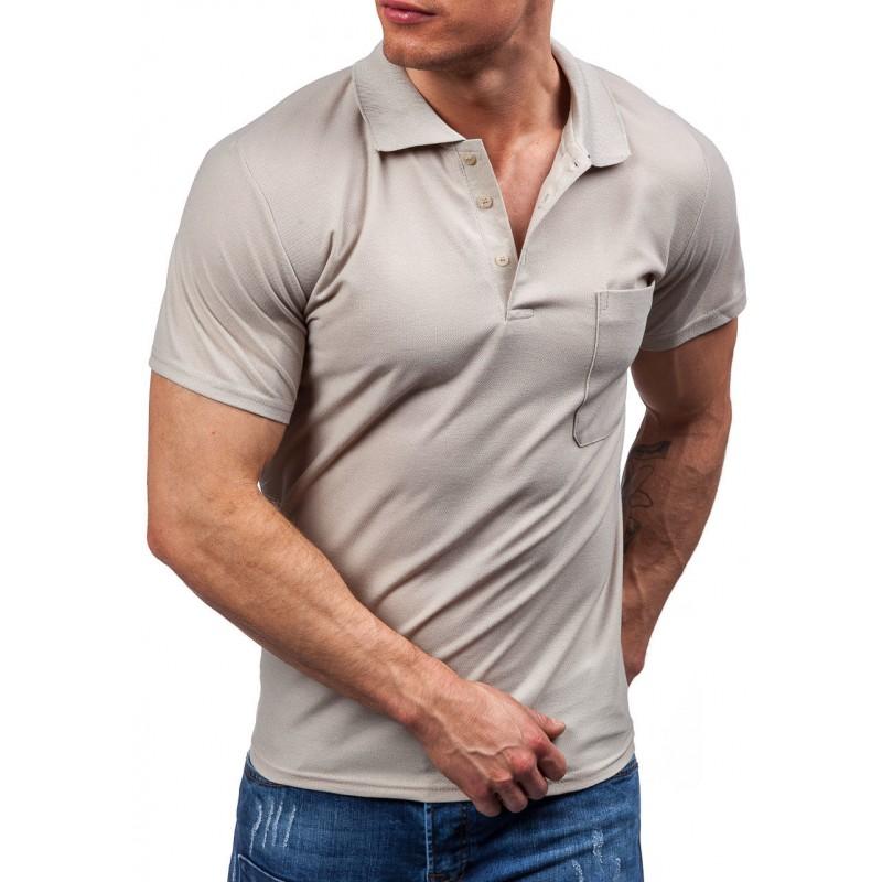 769f3203839d ... rukáv Béžové pánské polo tričko s kapsou na levé straně. Předchozí