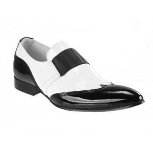 Pánské kožené extravagantní boty bílo-černé