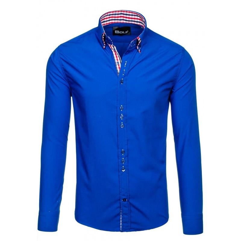 51858895b47 ... rukávem Moderní pánské košile modré barvy. Předchozí
