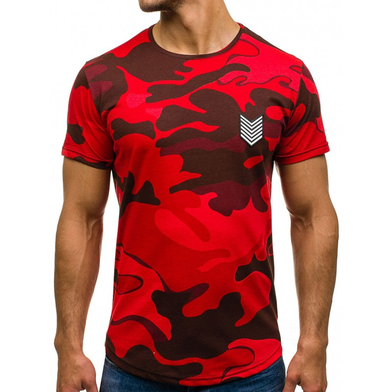 5e0576530162 Červené pánské army tričko na léto - manozo.cz