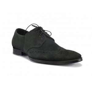 Pánské prošívané kožené boty zelené barvy COMODO E SANO