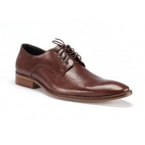 Hnědé pánské společenské boty z pravé kůže COMODO E SANO