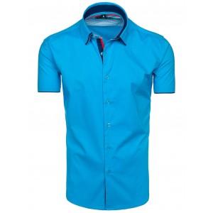 Stylové pánské košile s krátkým rukávem tyrkysové barvy