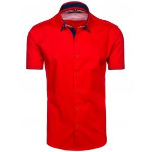 Pánská červená košile s krátkým rukávem slim fit