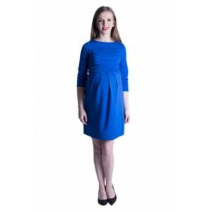 Společenské modré těhotenské šaty nad kolena