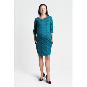 Tyrkysové šaty pro těhotné s tříčtvrtečním rukávem