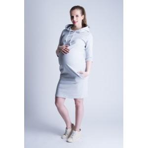 Sportovní těhotenské šaty šedé barvy