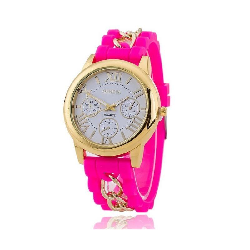 ... hodinky Růžové dámské hodinky se silikonovým řemínkem. Předchozí 68f79bbd404