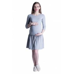 Pohodlné těhotenské šaty v šedé barvě