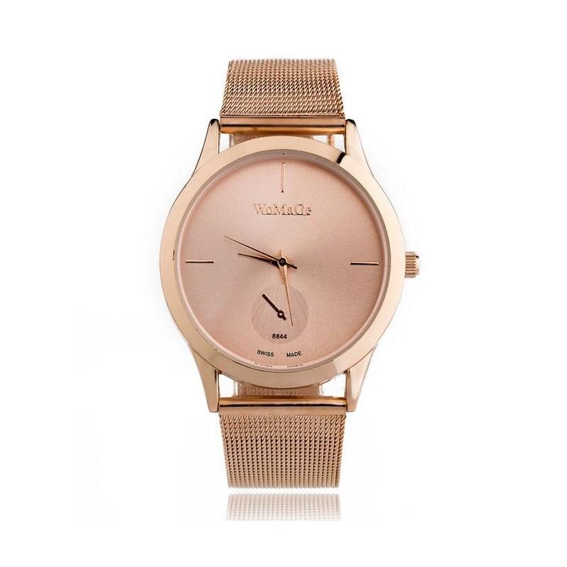 98cbcb927f1 Růžové dámské hodinky s kovovým páskem - manozo.cz