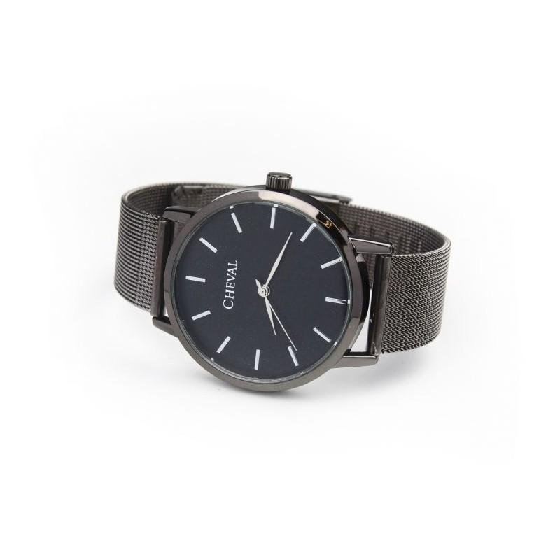 ed7da7b96c7 Dámské hodinky s kovovým řemínkem černé barvy - manozo.cz