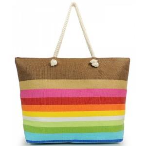 Barevná letní plážová taška s pruhy