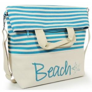Modrá dámská plážová taška se zapínáním na zip