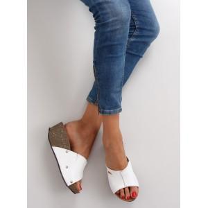 Letní dámské pantofle bílé barvy