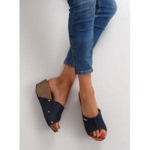 Tmavě modré dámské pantofle na léto