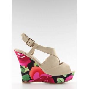Béžové dámské sandály v květinovém motivu