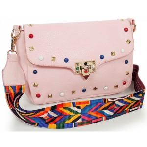 Crossbody dámská kabelka s ramínkem růžové barvy