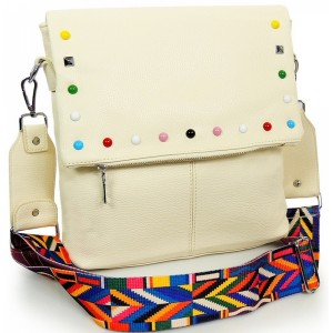 Crossbody béžová dámská kabelka se zipem a ramínkem