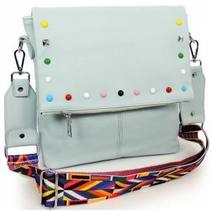 Modrá crossbody kabelka pro dámy s ozdobnými kamínky
