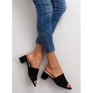 Černé pantofle s otevřenou špičkou pro dámy