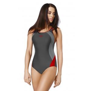 Šedé jednodílné plavky s výřezem na zádech