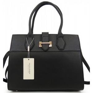 Elegantní kabelka s přezkou černé barvy