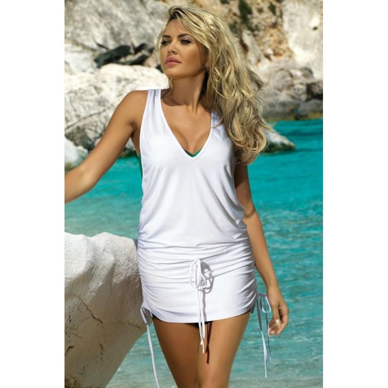 c997634da96a Letní plážové šaty bílé barvy - manozo.cz