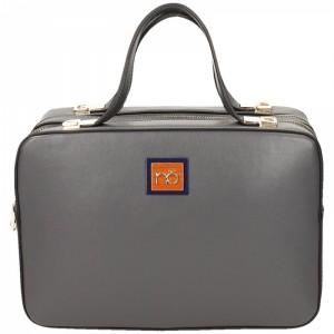 Šedá elegantní kufříková kabelka na zip