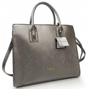 Stylová dámská byznys kabelka stříbrné barvy
