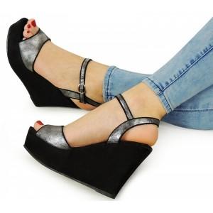 Letní dámské sandály na platformě černé barvy