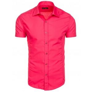 Růžová slim fit pánská košile s krátkým rukávem