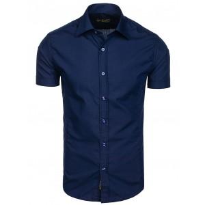 Tmavě modrá pánská slim fit košile s krátkým rukávem