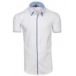 Bílá pánská košile s krátkým rukávem a lemováním