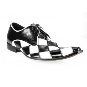 Pánské kožené extravagantní boty černo-bílé