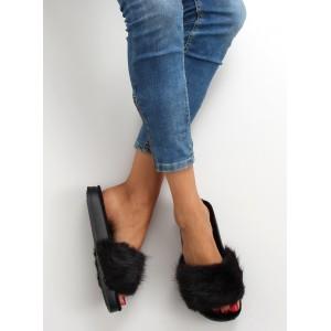 Chlupaté dámské nazouváky v černé barvě