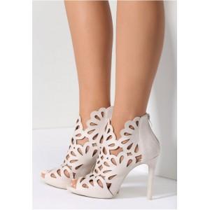 Béžové sandály na vysokém podpatku