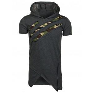 Dlouhé šedé pánské tričko v motivu army