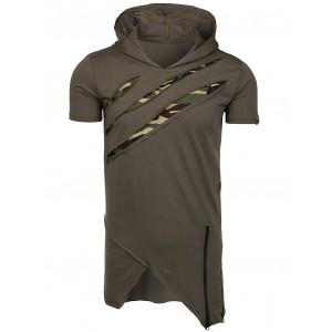 Army zelené pánské tričko s kapucí